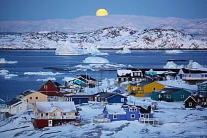 The moon setting in greenland.