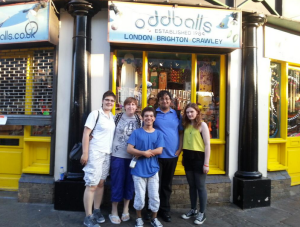 Our reviewing team outside Oddballs in Camden