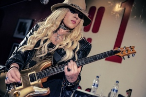 The sassy lady herself, Orianthi rocking the stage at the 100 Club