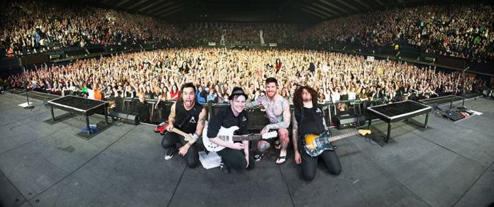 Fall Out Boy pose with the Wembley crowd - photo by Jack Edinger