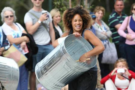 The Stomp crew performing outside Pavilion Dance in Bournemouth - Photo by Justin Parry