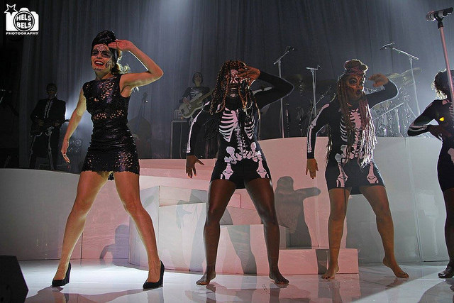 Paloma Faith dancing with skeletons