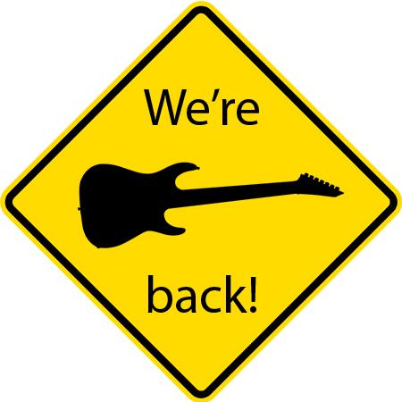 we're back road sign